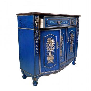 Комод синий на три двери и два ящика «Ретро»