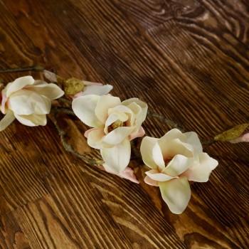 Магнолия, искусственная ветка (4 цветка + 2 бутона + 4 почки)