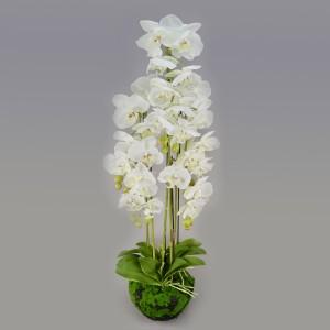 Орхидея искусственная Фаленопсис с корнями и листьями в торфе (на 5 веток)