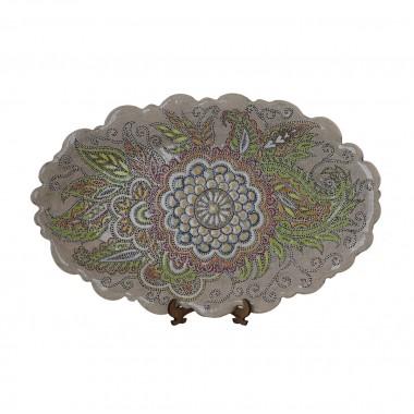 Тарелка плоская овальная большая «Цветок»